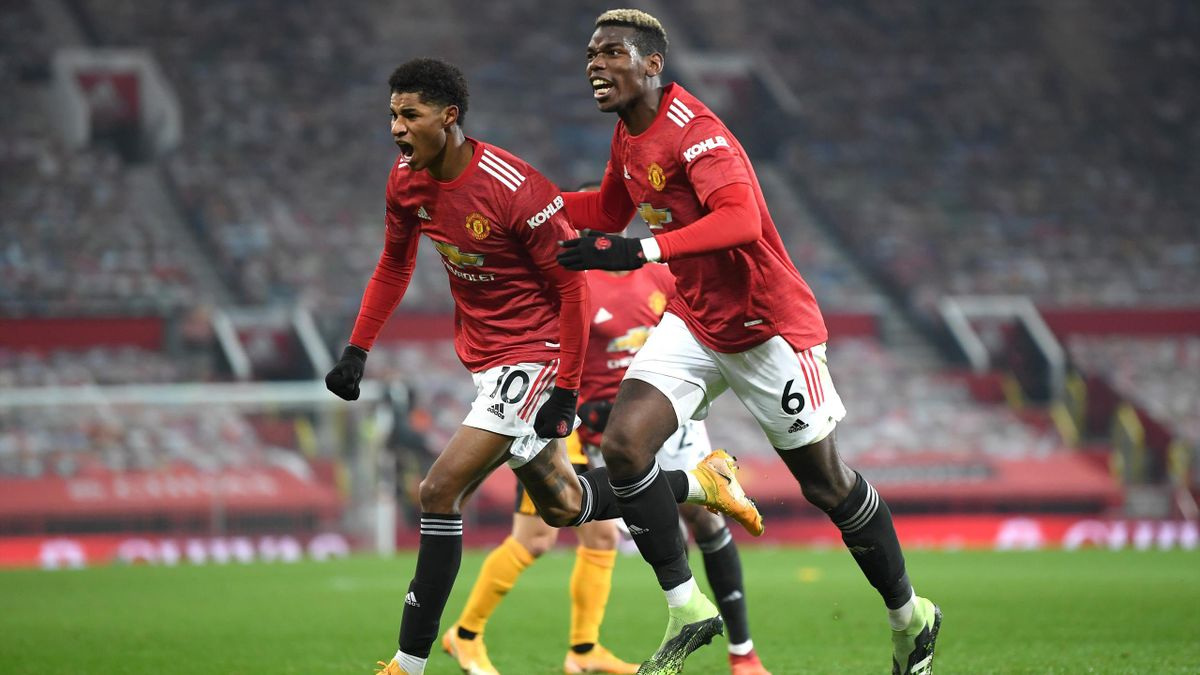 Marcus Rashford (l.) und Paul Pogba (r.) von Manchester United