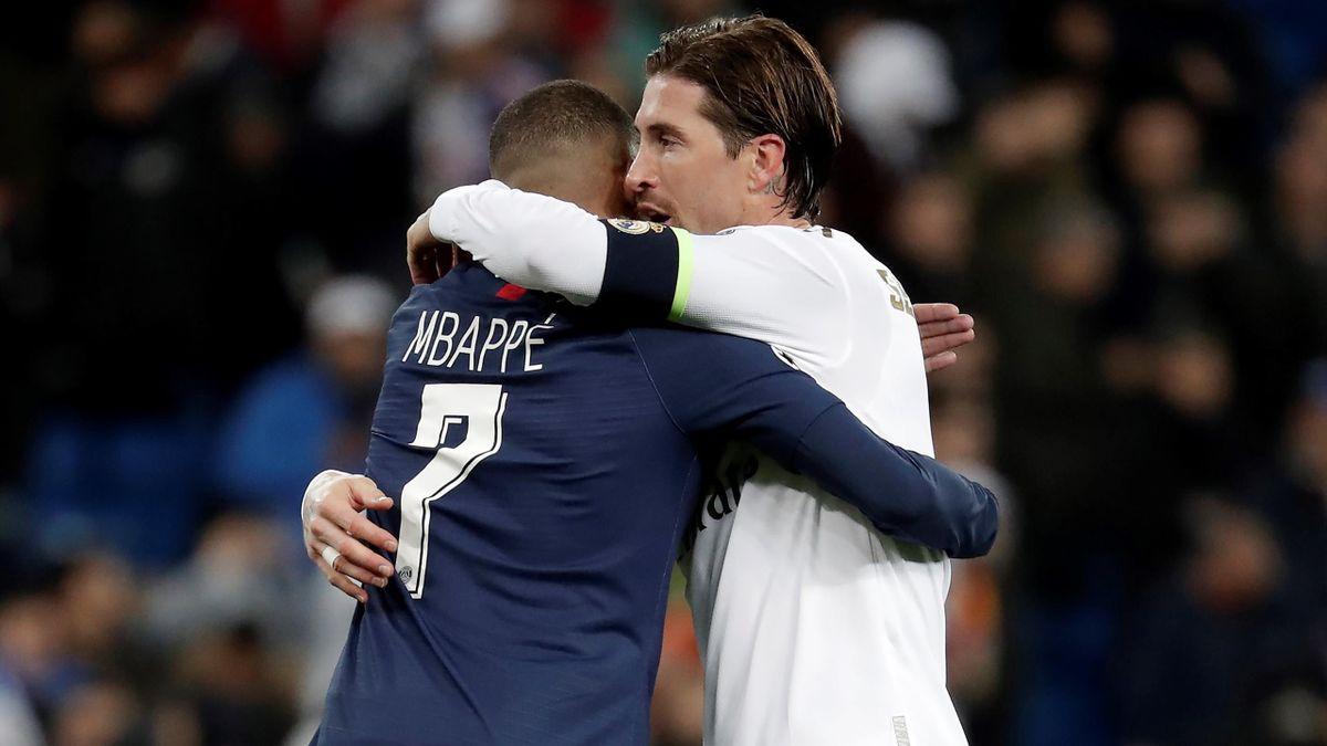 Kylian Mbappé (PSG) și Sergio Ramos (Real Madrid)