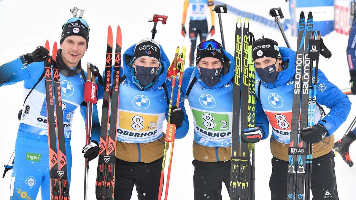 Emilien Jacquelin, Fabien Claude, Quentin Fillon Maillet et Simon Desthieux