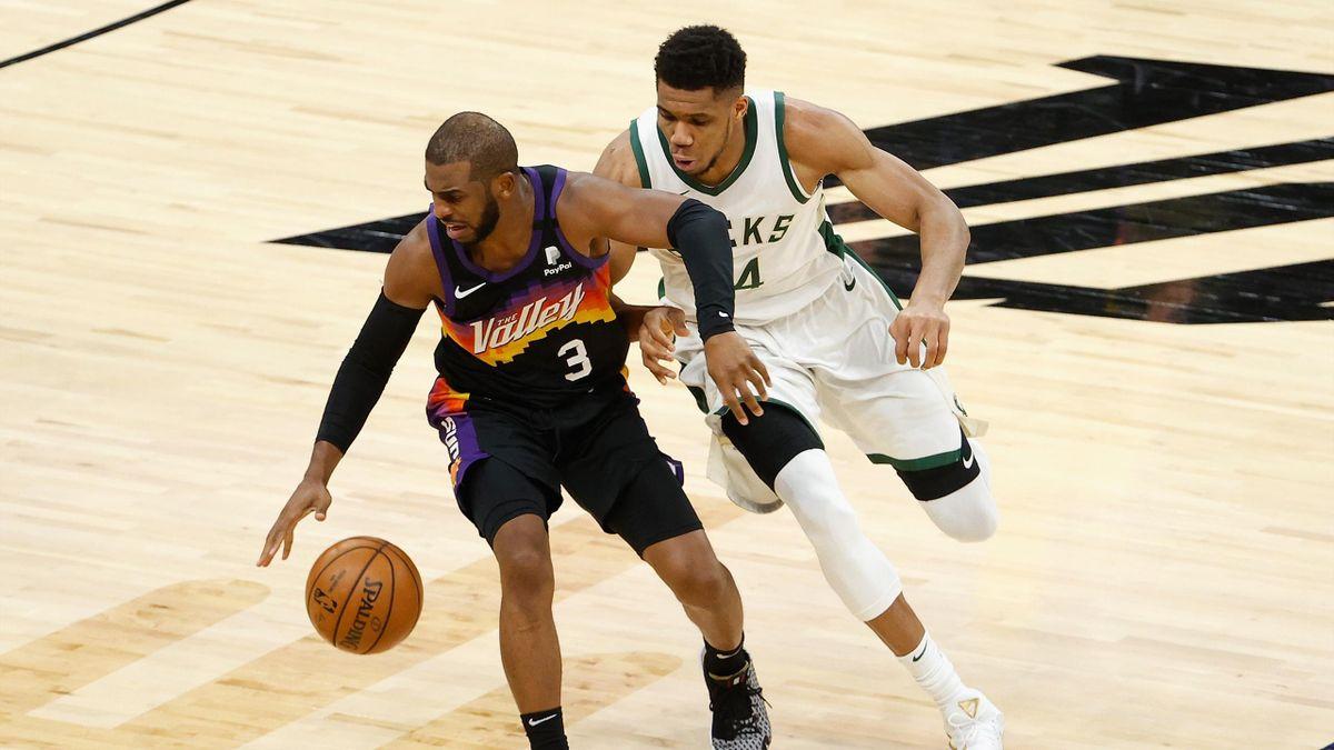 Chris Paul e Giannis Antetokounmpo, Suns-Bucks, NBA 2021