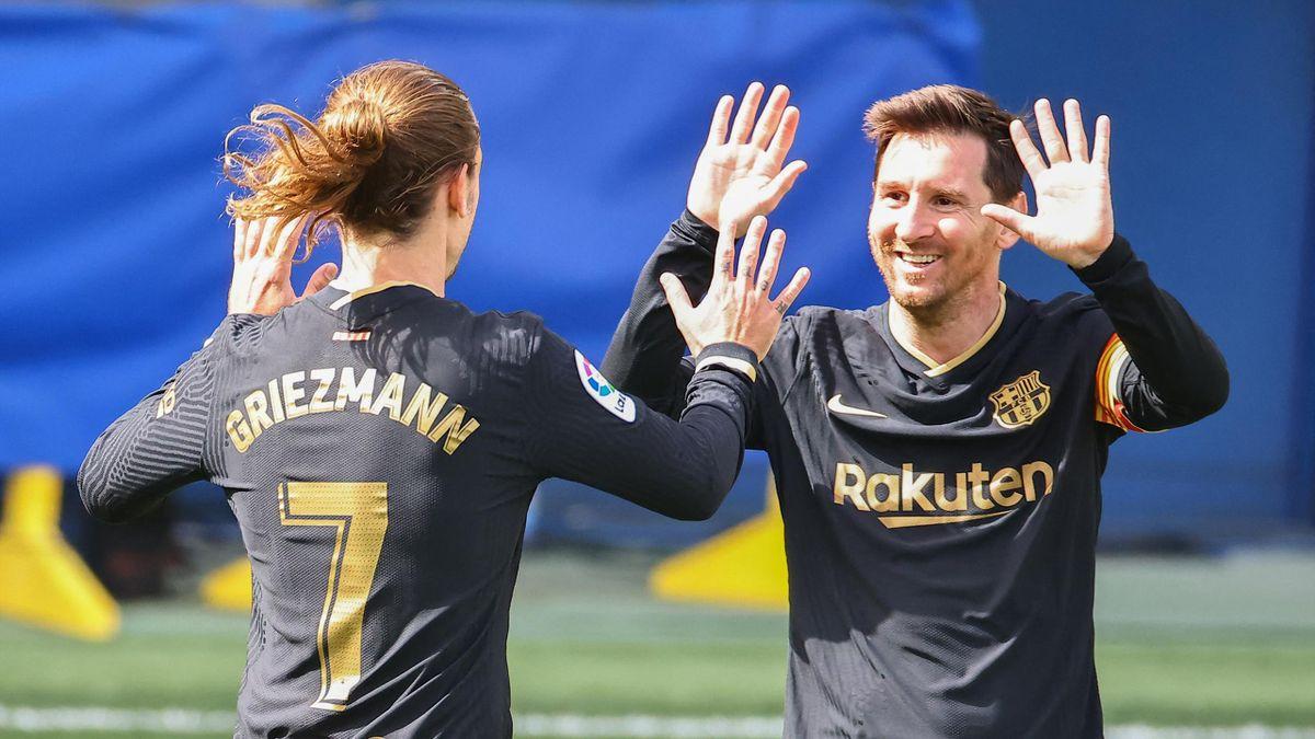Barcelonas Offensiv-Stars Griezmann (l.) und Messi