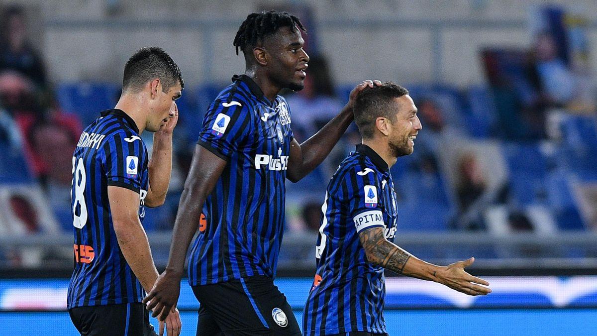 Zapata et Gomez lors de la victoire de l'Atalanta face à la Lazio, le 30 septembre 2020