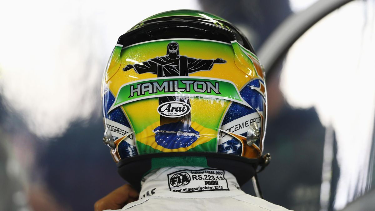 Lewis Hamilton with the Christ the Redeemer monument on his helmet back in 2013