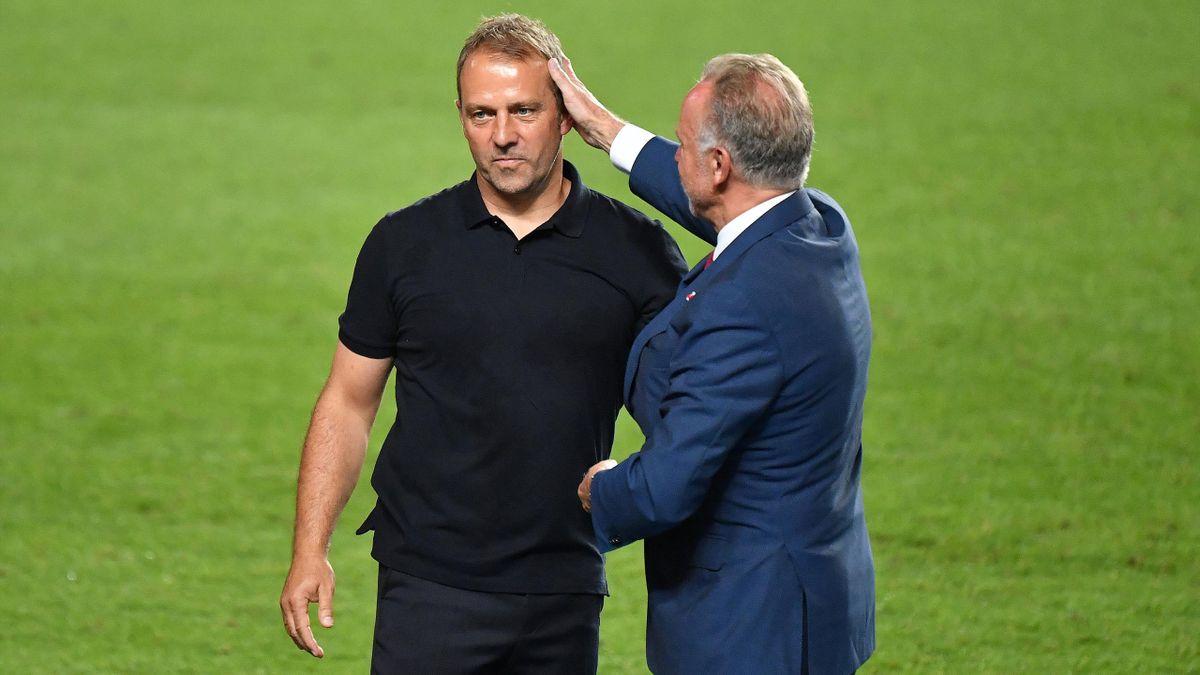 Bayern-Boss Karl-Heinz Rummenigge (rechts) mit Trainer Hansi Flick