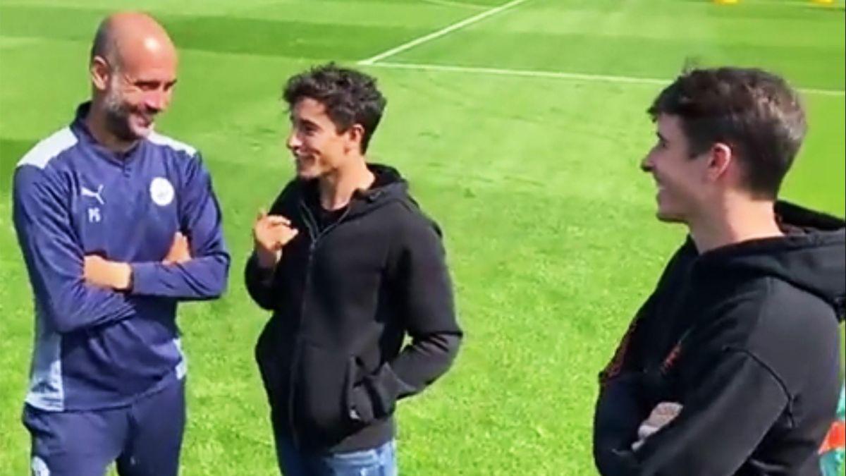 Marc Márquez und Bruder Alex Márquez besuchen Pep Guardiola im Traininga