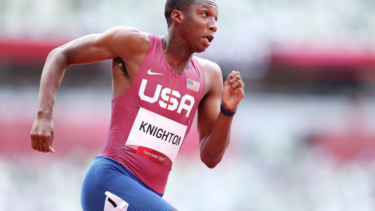 Erriyon Knighton of Team United States competes in round one of the Men's 200m heats on day eleven of the Tokyo 2020 Olympic Games at Olympic Stadium on August 03, 2021 in Tokyo, Japan.