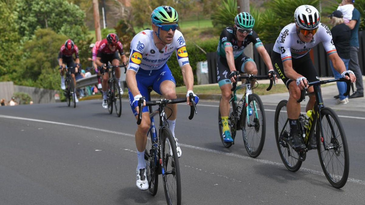 GEELONG, AUSTRALIA - FEBRUARY 02: Dries Devenyns of Belgium and Team Deceuninck - Quick-Step / Jay Mccarthy of Australia and Team BORA-Hansgrohe / Daryl Impey of South Africa and Team Mitchelton-SCOTT / during the 6th Cadel Evans Great Ocean Road Race 202