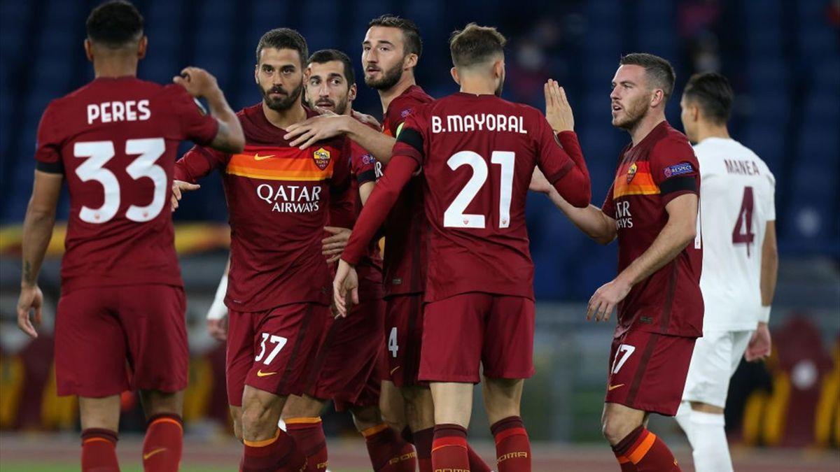 Esultanza della Roma vs Cluj - Europa League