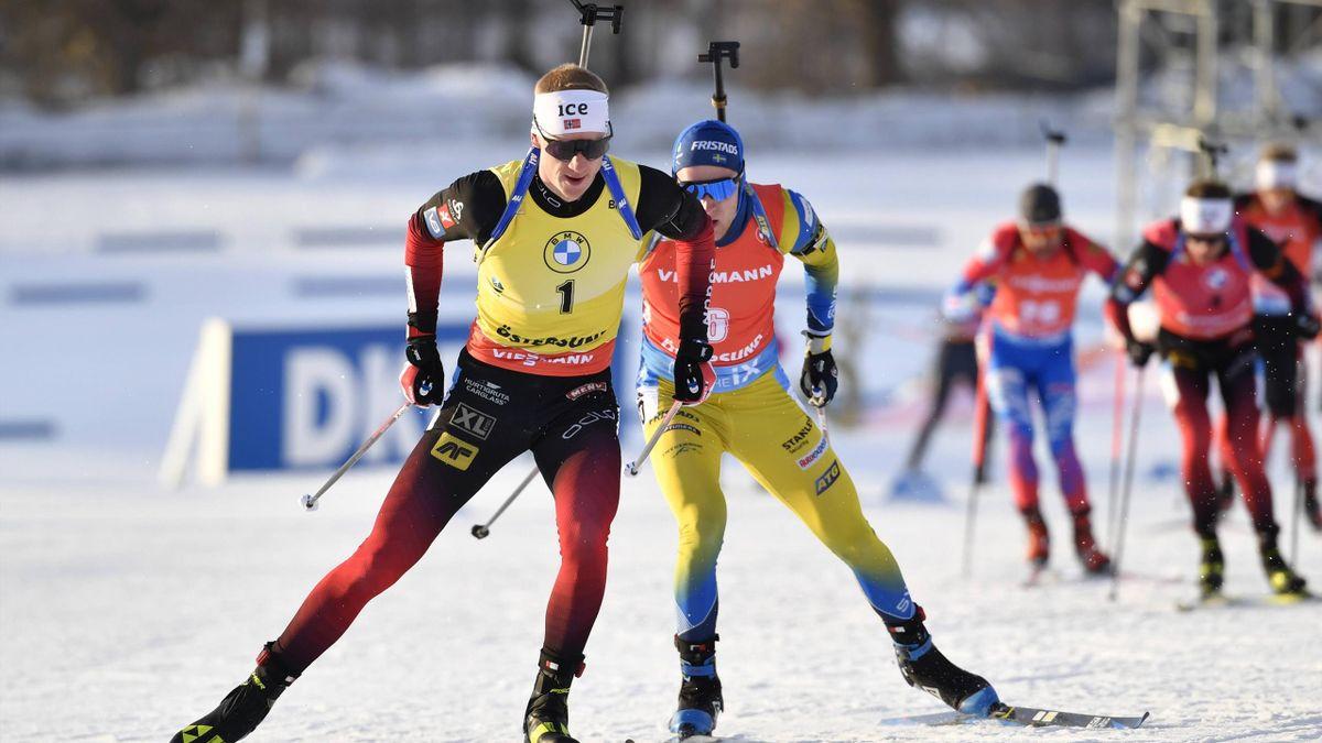 Johannes Thingnes Bö im Gelben Trikot des Gesamtweltcupführenden