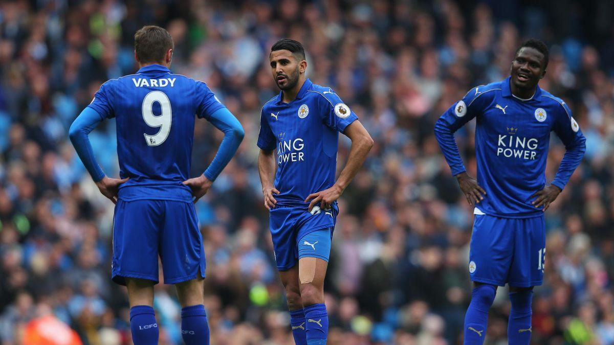 Riyad Mahrez of Leicester City reacts