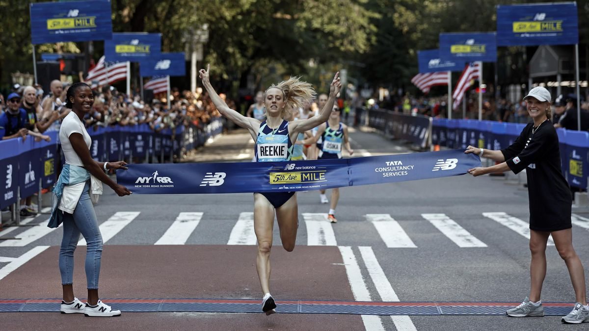 Jemma Reekie of Great Britain wins the New Balance 5th Avenue Mile, New York, September 12, 2021