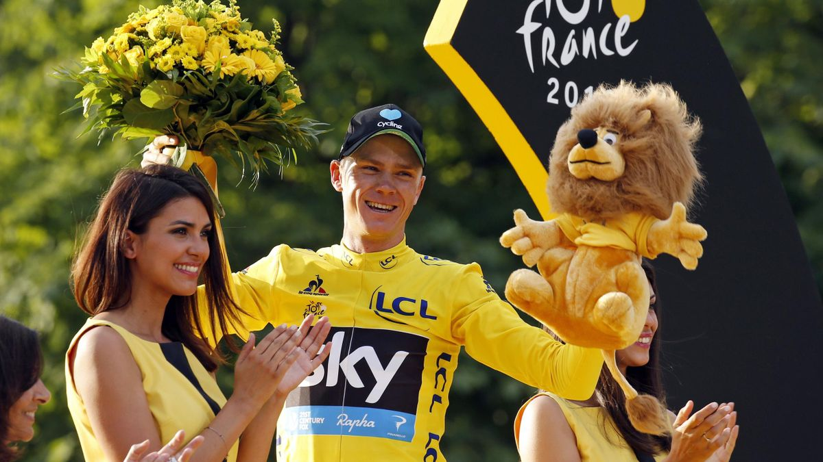 Yellow jersey leader and overall winner Team Sky rider Chris Froome