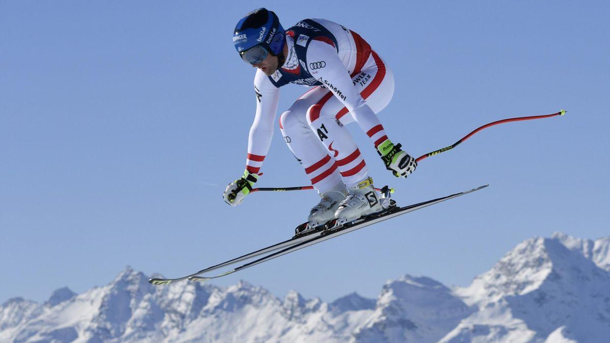 Romed Baumann lors de la descente du combiné des Mondiaux de St-Moritz
