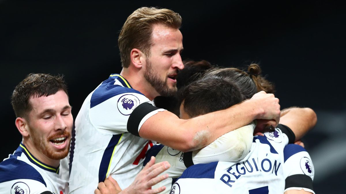 Gareth Bale of Tottenham Hotspur celebrates with teammates after scoring his sides second goal during the Premier League match between Tottenham Hotspur and Brighton & Hove Albion