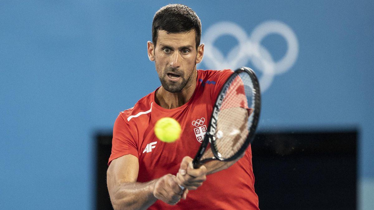 Novak Djokovic à l'entraînement à Tokyo avant les JO