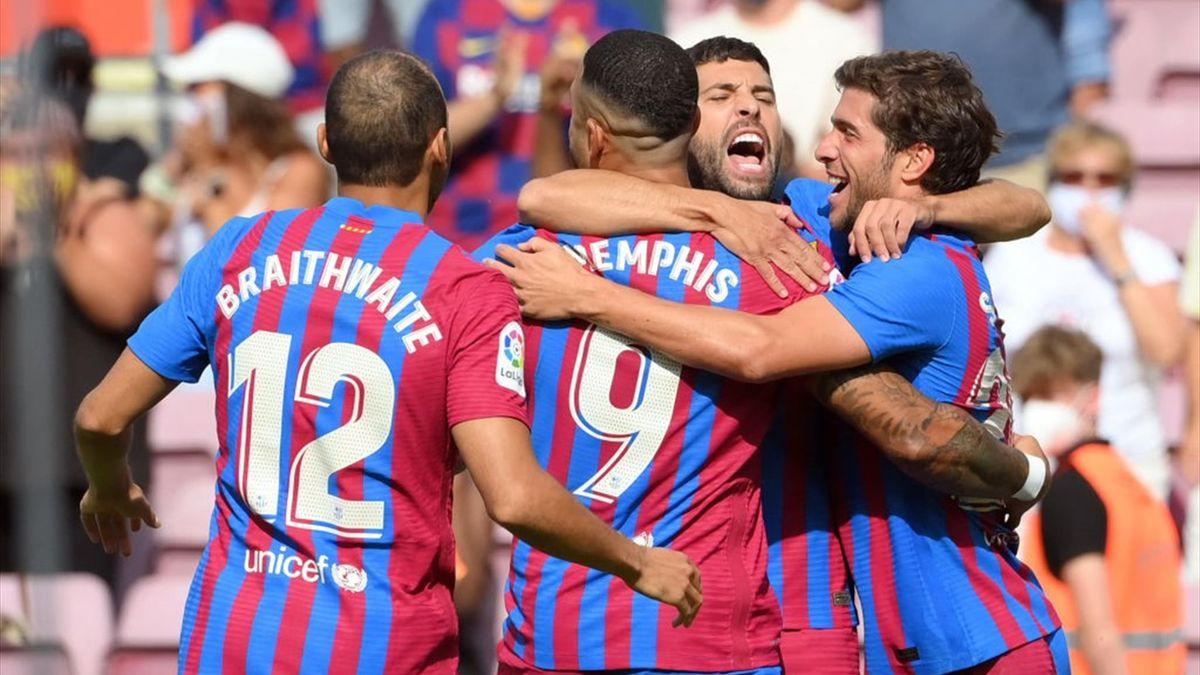 Jucătorii de la FC Barcelona, sărbătorind un gol marcat contra lui Getafe