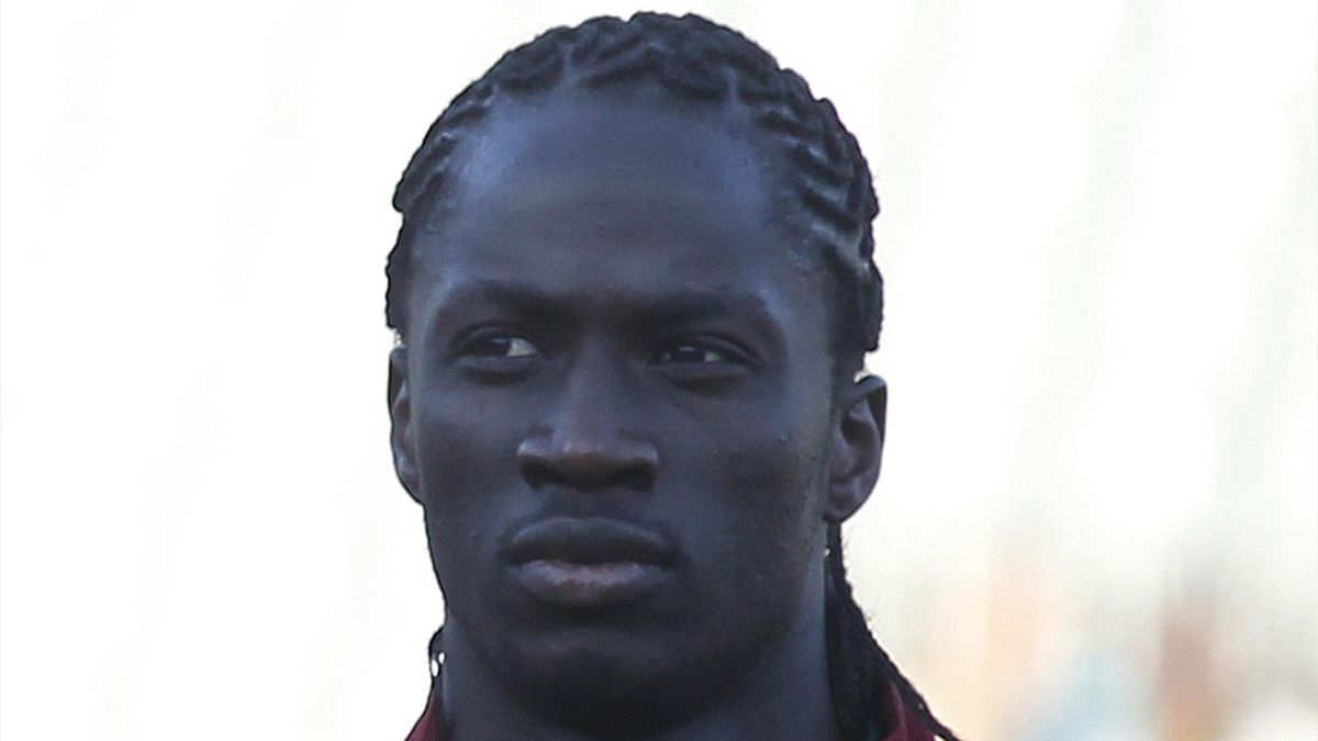 Portugal's Eder listens to the national anthem