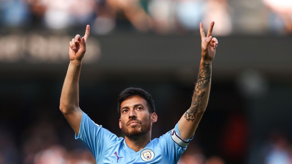 David Silva of Manchester City celebrates after scoring a goal to make it 1-0 during the Premier League match between Manchester City and Watford FC at Etihad Stadium on September 21, 2019 in Manchester, United Kingdom.