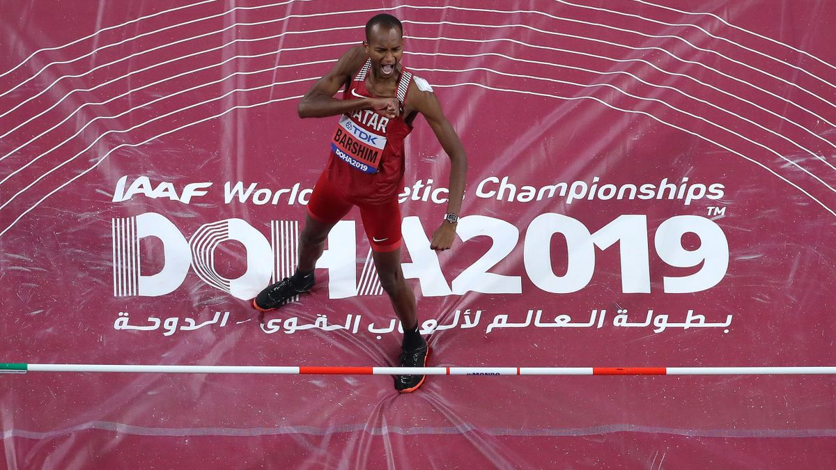 DOHA, QATAR - OCTOBER 04: Mutaz Essa Barshim of Qatar reacts as he competes in the Men's High Jump final during day eight of 17th IAAF World Athletics Championships Doha 2019 at Khalifa International Stadium on October 04, 2019 in Doha, Qatar. (Photo by R
