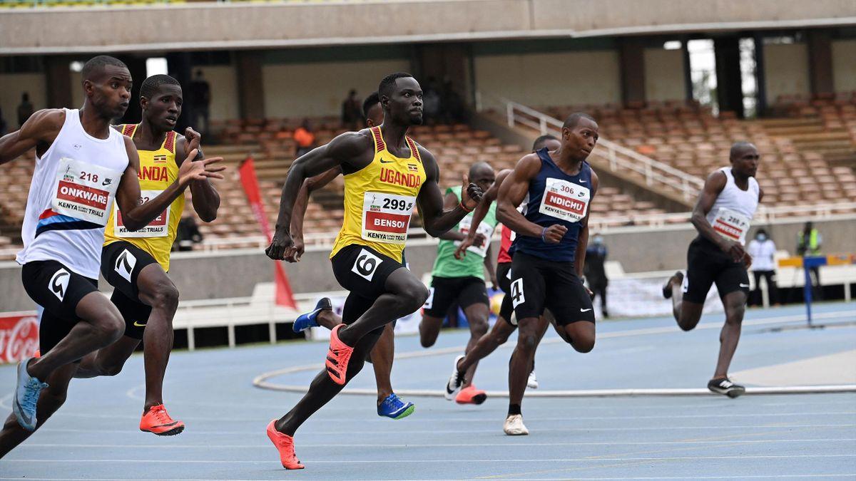 Ugandische Athleten (gelbes Trikot) in Aktion