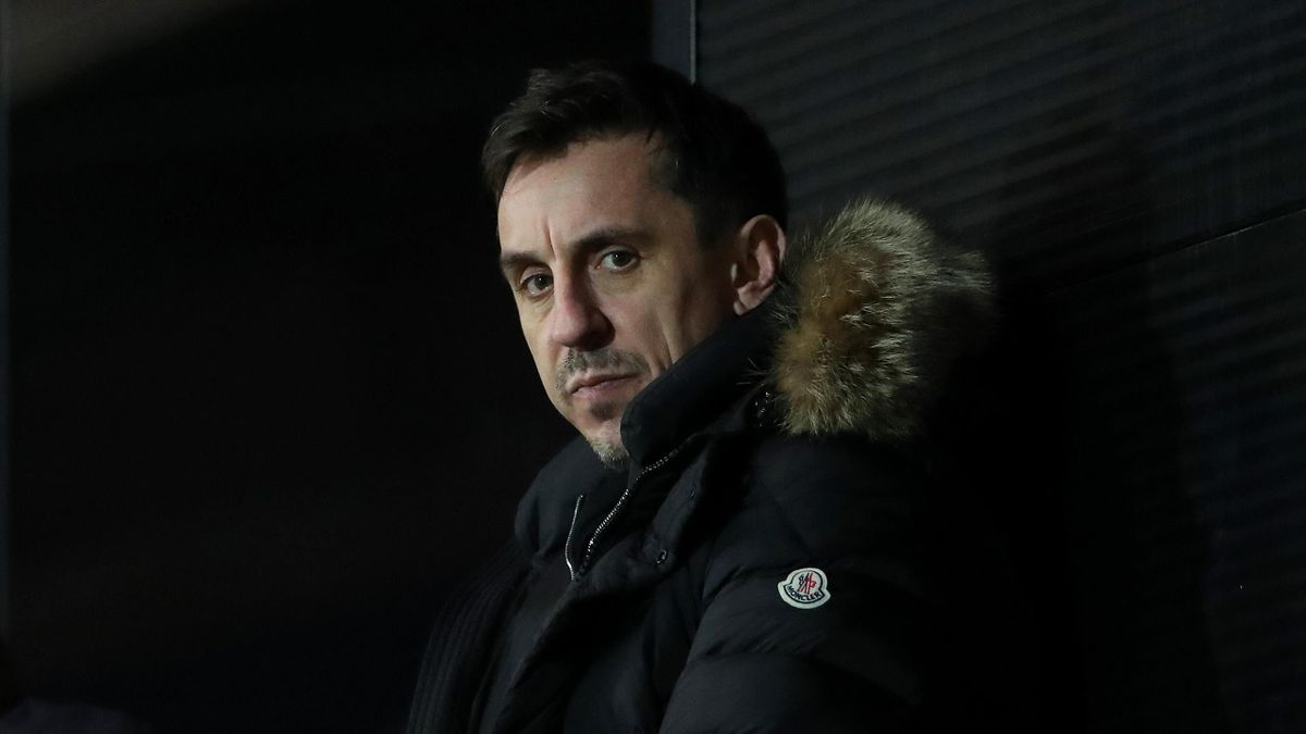 Gary Neville a co-owner of Salford City looks on during the Sky Bet League Two match between Salford City and Harrogate Town at Moor Lane on January 22, 2021 in Salford, England.
