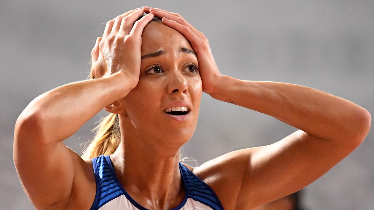 Britain's Katarina Johnson-Thompson reacts after winning the Women's 800m Heptathlon final at the 2019 IAAF Athletics World Championships at the Khalifa International stadium in Doha on October 3