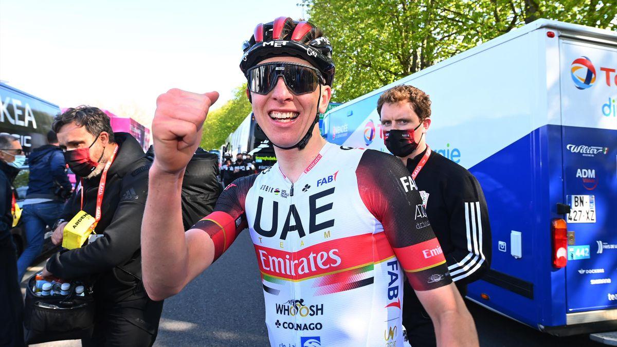 Tadej Pogacar of Slovenia and UAE Team Emirates celebrates at arrival during the 107th Liege