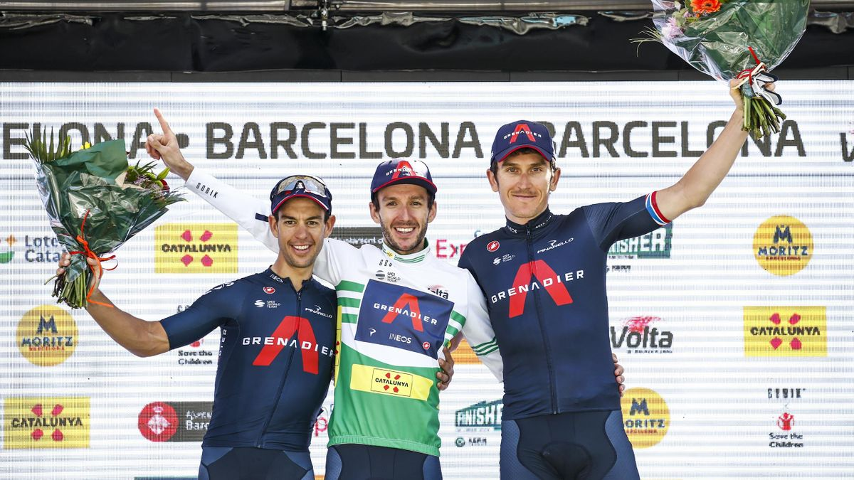 Adam Yates from Great Britain, Geraint Thomas from Great Britain and Richie Porte from Australia of Ineos Grenadiers at the podium celebrating their result during the 100th Volta Ciclista a Catalunya 2021