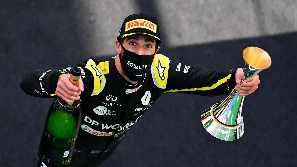 Daniel Ricciardo sur le podium, dimanche dernier