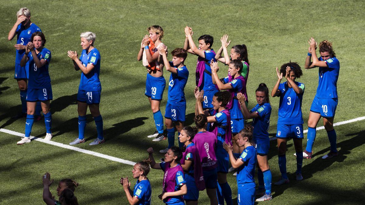 Le azzurre della Nazionale italiana di calcio dopo la sconfitta con l'Olanda ai Mondiali di Francia 2019