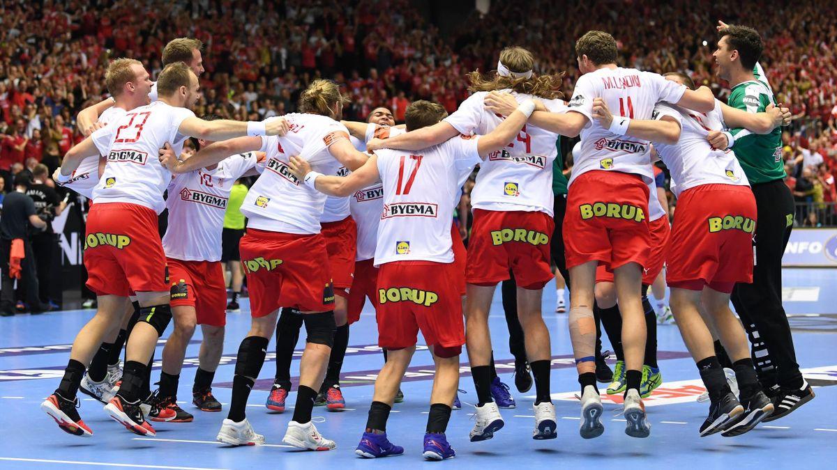 La joie des joueurs du Danemark (Mondial 2019)