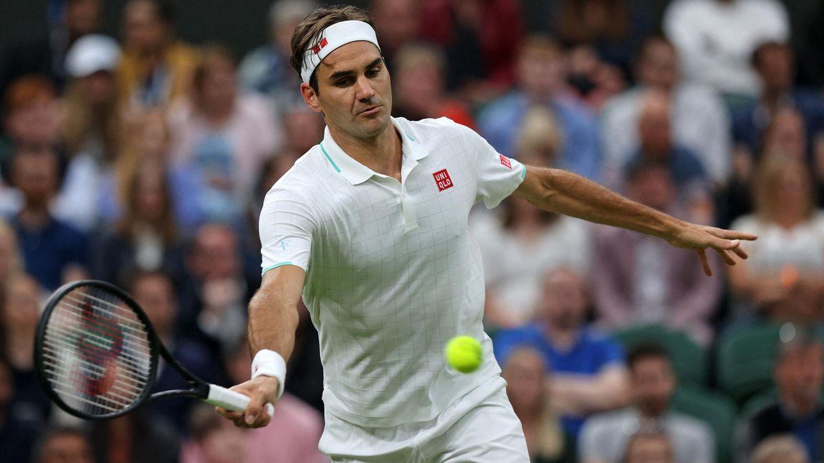 Roger Federer in Wimbledon in Aktion