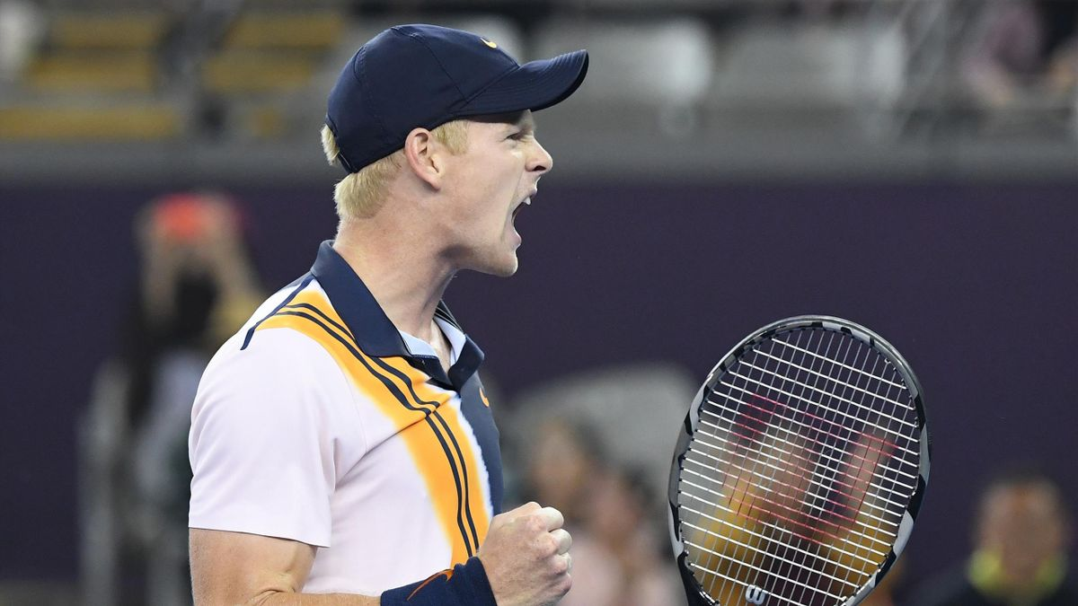 Kyle Edmund of Britain reacts after winning match point in his men's quarter-final match against Dusan Lajovic of Serbia at the China Open tennis tournament in Beijing on October 5, 2018.