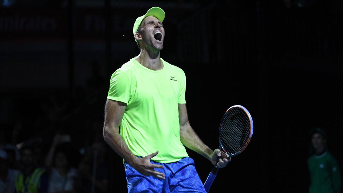 Ivo Karlovic célèbre sa victoire face à Horacio Zeballos lors du 1er tour de l'Open d'Australie 2017
