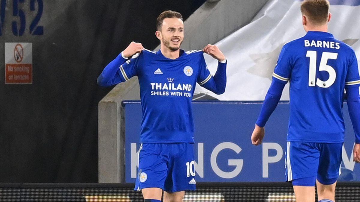 James Maddison celebrates scoring for Leicester