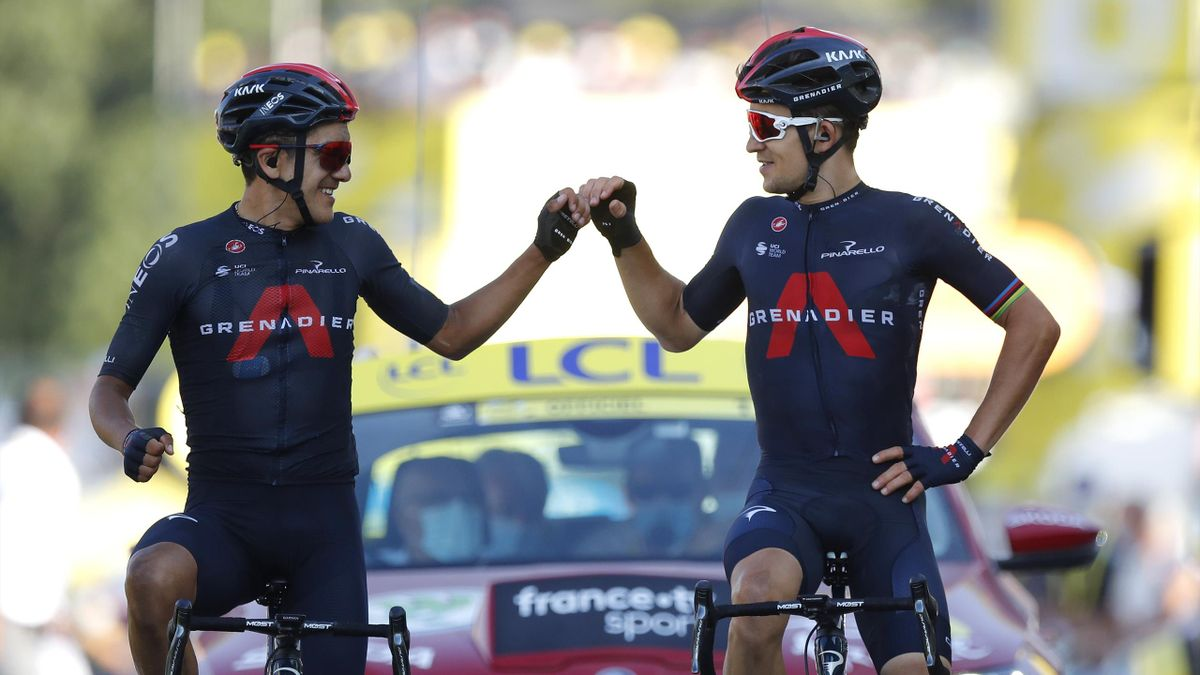 Richard Carapaz of Ecuador and Team INEOS Grenadiers / Michal Kwiatkowski of Poland and Team INEOS Grenadiers / Celebration / during the 107th Tour de France 2020, Stage 18