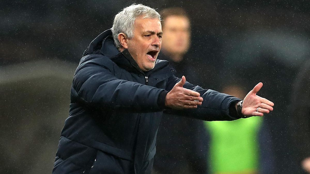 Manager of Tottenham Hotspur Jose Mourinho reacts during the Premier League match between Tottenham Hotspur and Fulham