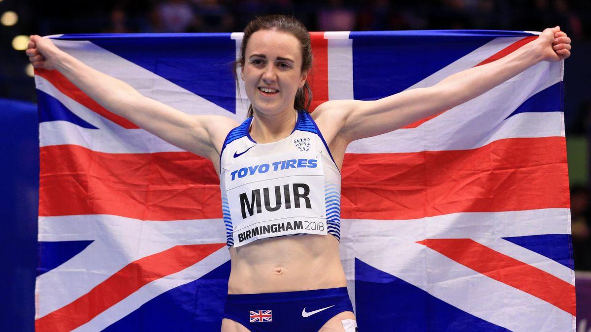 Bronze Medallist, Laura Muir of Great Britain celebrates