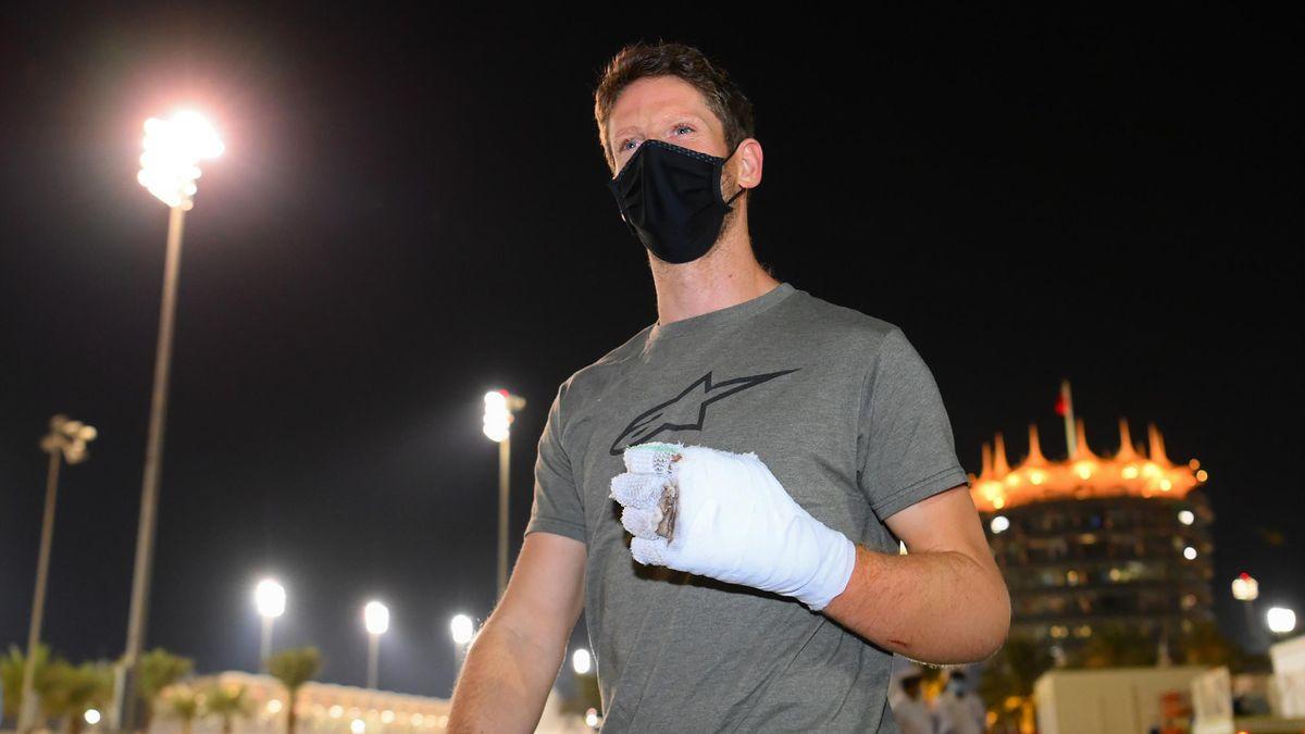 Ex-Formel-1-Pilot Romain Grosjean nach seinem Feuerunfall in Bahrain