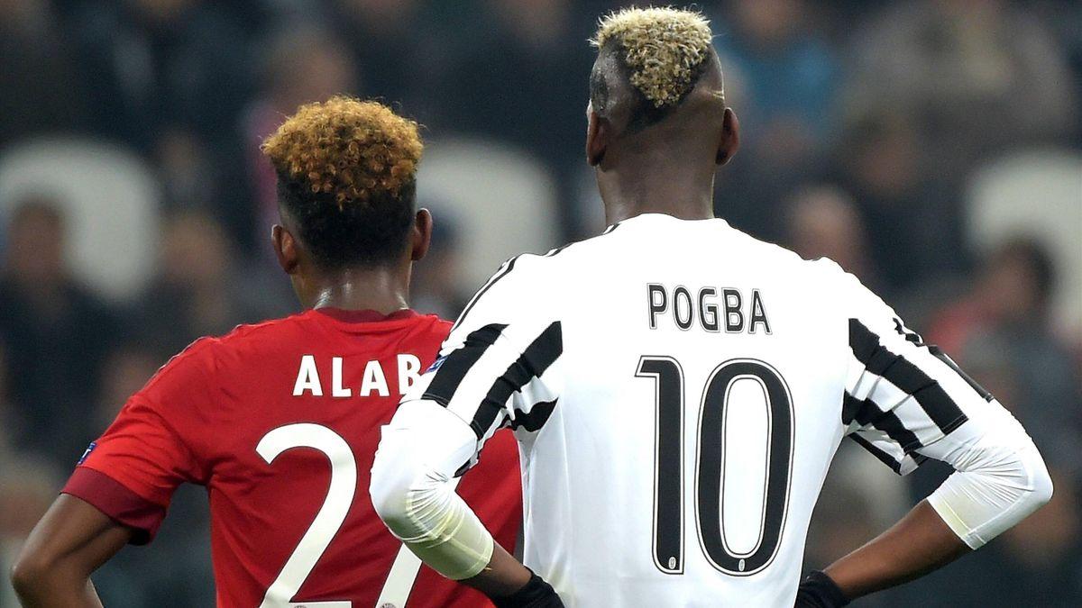 David Alaba vom FC Bayern München und Juves Paul Pogba im Viertelfinale der Champions League