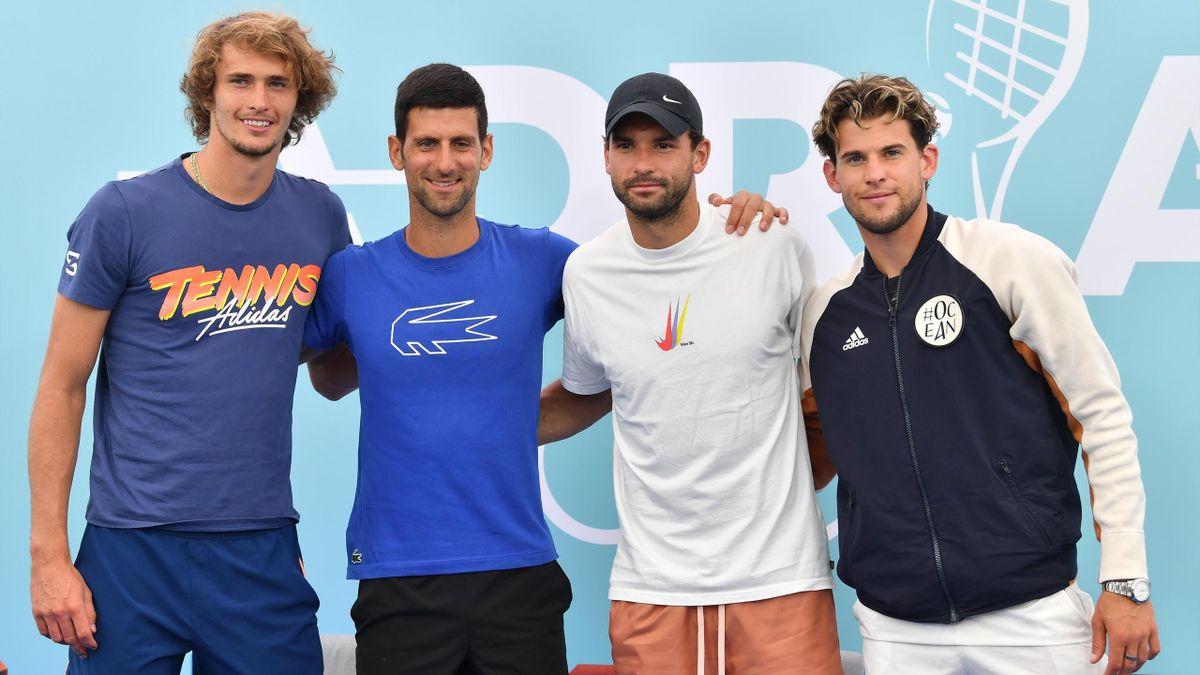 Zverev, Djokovic, Dimitrov und Thiem (v.l.n.r.)