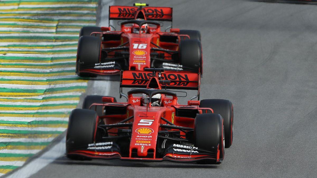 Die Ferraris von Sebastian Vettel und Charles Leclerc beim GP Brasilien 2019