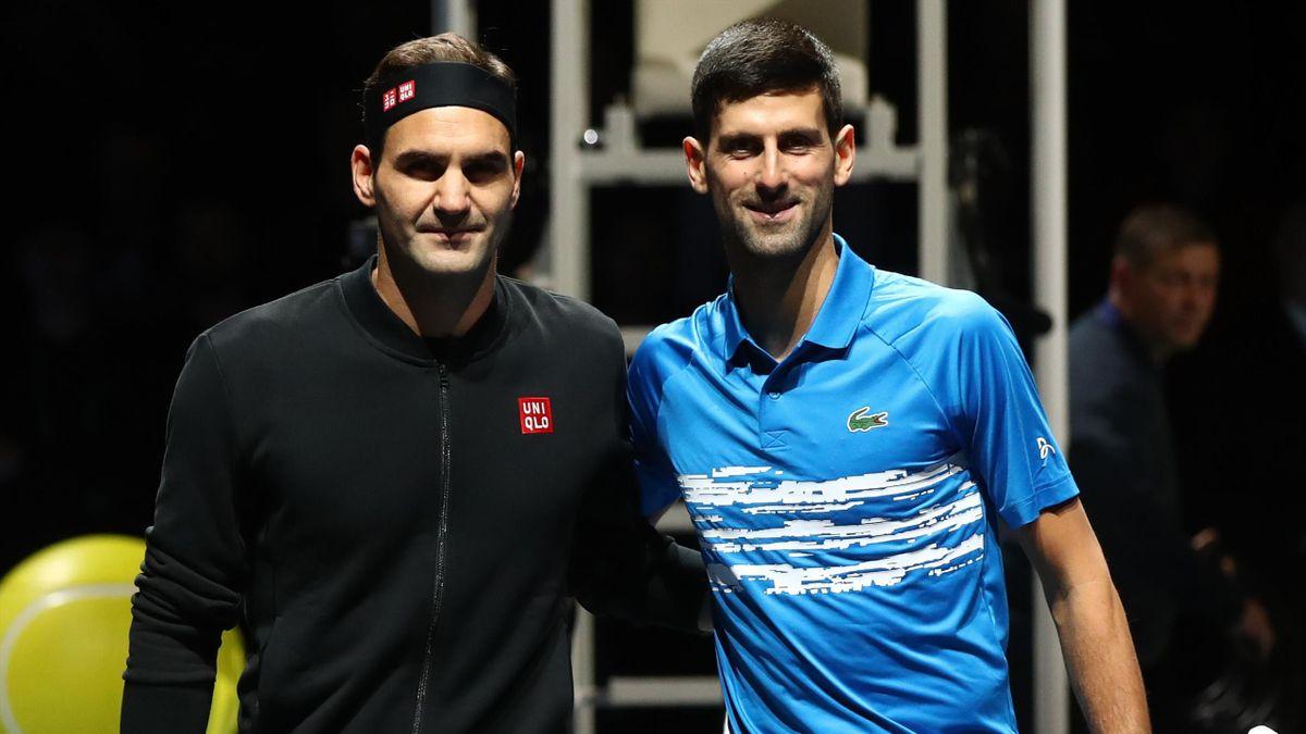 Roger Federer et Novak Djokovic, adversaires lors du Masters 2019 disputé à Londres.