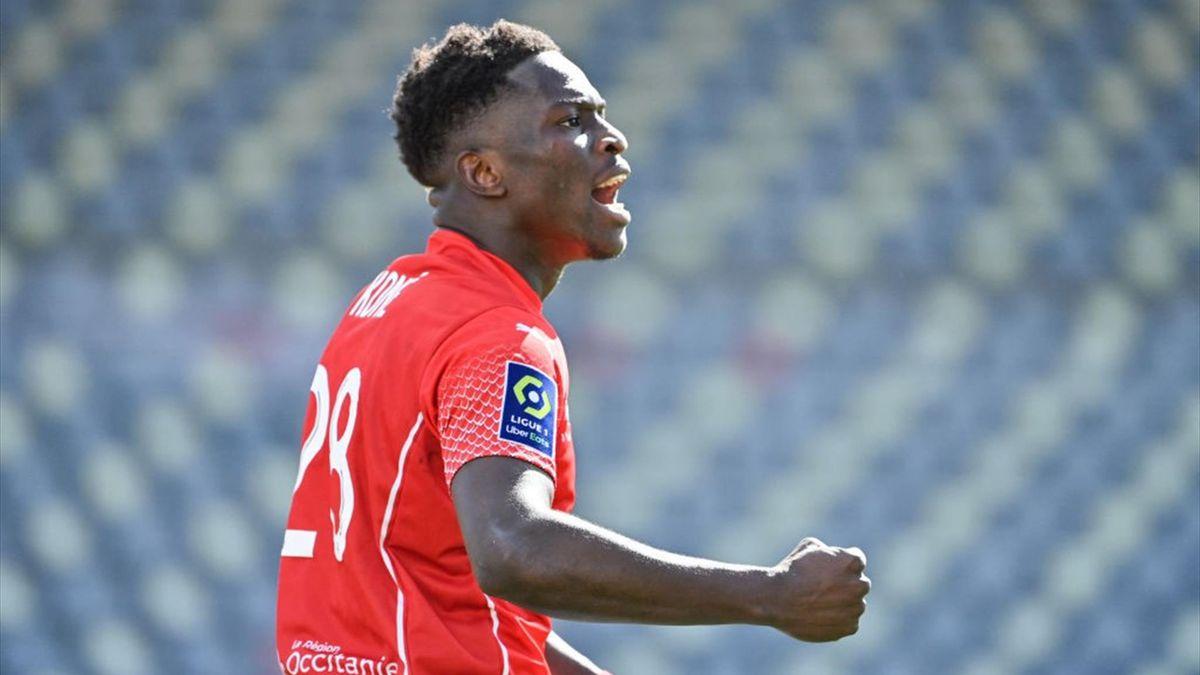 Nimes Senegalese buteur pour Nîmes contre Montpellier en Ligue 1 le 14 mars 2021