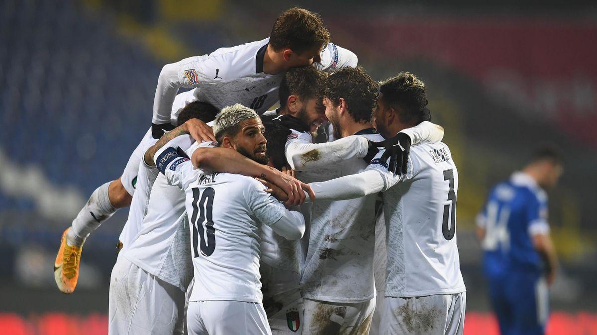 Italy celebrate scoring against Bosnia-Herzegovina