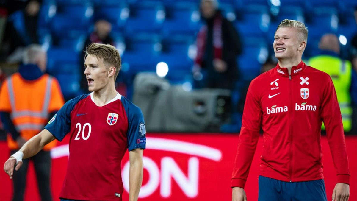 Martin Odegaard, Erling Braut Haaland of Norway after during the UEFA Euro 2020 qualifier between Norway and Malta at Ullevaal Stadion on September 5, 2019 in Oslo, Norway.