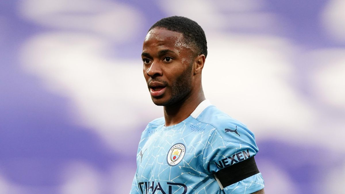 Raheem Sterling of Manchester City looks on during the Semi Final of the Emirates FA Cup match between Manchester City and Chelsea FC at Wembley Stadium on April 17, 2021 in London, England.
