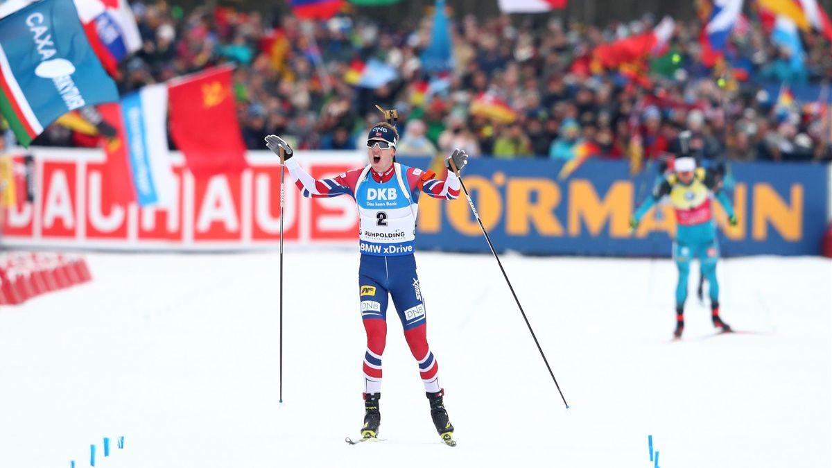 Thigngnes Boe vainqueur du 15km mass start de Ruhpolding le 14 janvier 2018