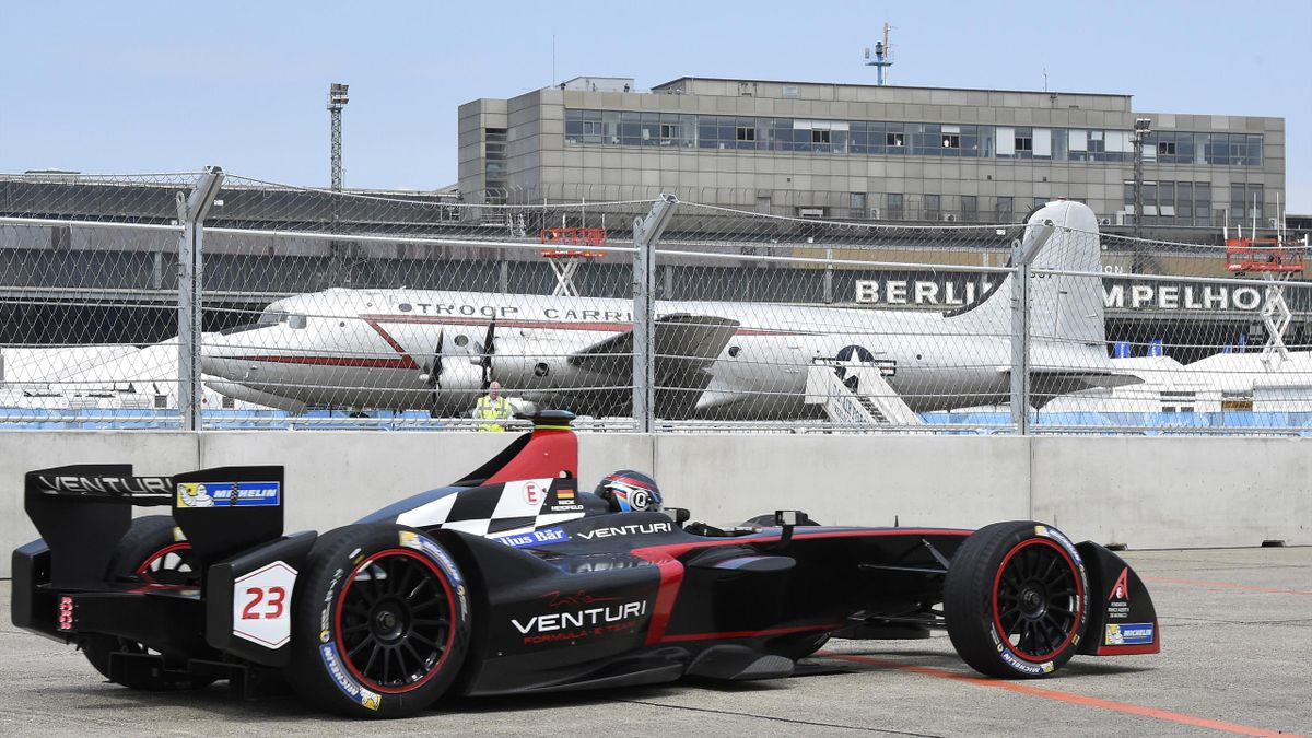 German racing driver Nick Heidfeld of Team Venturi steers his car during the qualifying session of the 2015 Fia Formula E Berlin championships in Berlin on May 23, 2015.