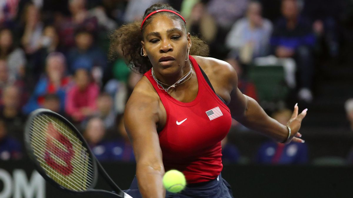 Serena Williams of the United States in action while competing against Anastasija Sevastova of Latvia during the 2020